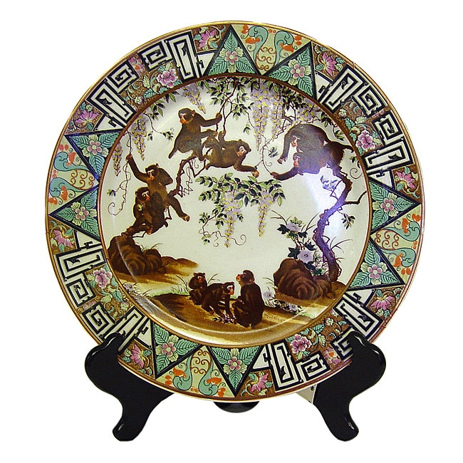 Monkey Design Porcelain Plate with Stand
