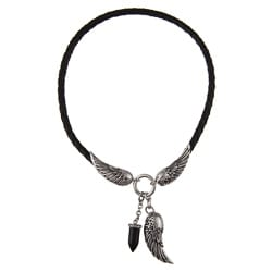 Stainless Steel and Leather Men's Eagle Wing and Black Onyx Fang Necklace