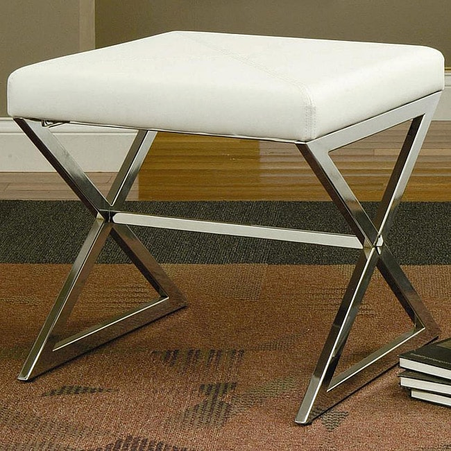 Contemporary White Faux Leather Ottoman with Metal Base