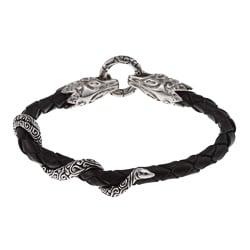 Stainless Steel and Black Leather Men's Dragon Head and Snake Bracelet