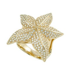 Michelle Monroe Goldtone Crystal Starfish Ring Made with SWAROVSKI Elements