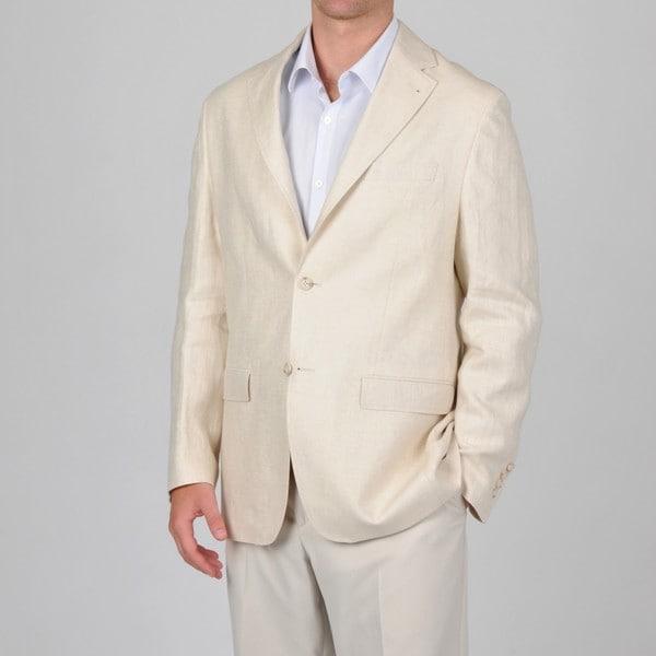 U&I Men's Beige Linen Blazer
