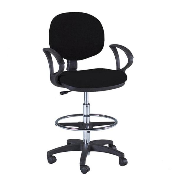 Martin Stanford Black Padded Wheeled Steel-frame Drafting Chair