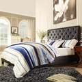 ETHAN HOME Sophie Dark Brown Vinyl Tufted Full-size Platform Bed