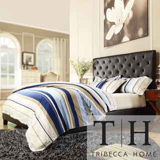 TRIBECCA HOME Sophie Dark Brown Vinyl Tufted Full-size Platform Bed