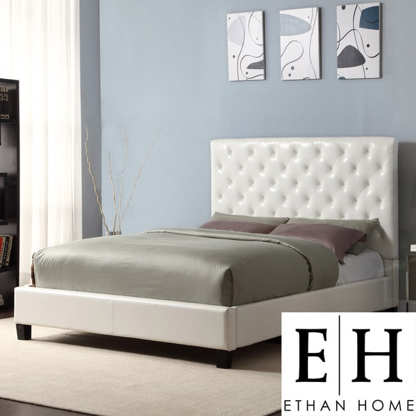 ETHAN HOME Sophie White Vinyl Tufted Full size Platform Bed