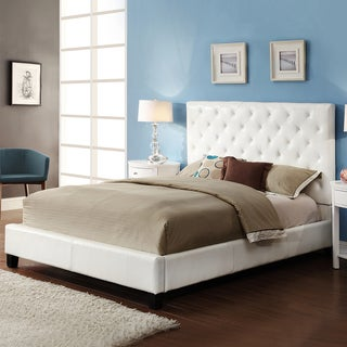 TRIBECCA HOME Sophie White Bonded Leather Tufted Full-sized Upholstered Platform Bed