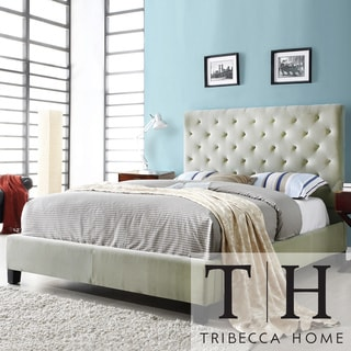 TRIBECCA HOME Sophie Taupe Velvet Tufted Full-size Platform Bed