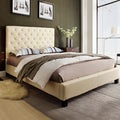 Sophie Beige Fabric Tufted King-size Platform Bed