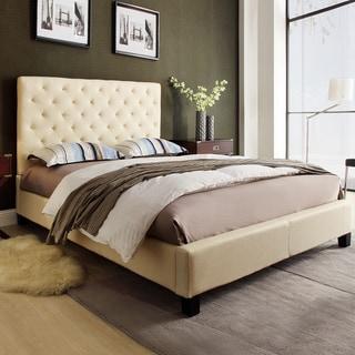 TRIBECCA HOME Sophie Beige Fabric Tufted King-sized Upholstered Platform Bed