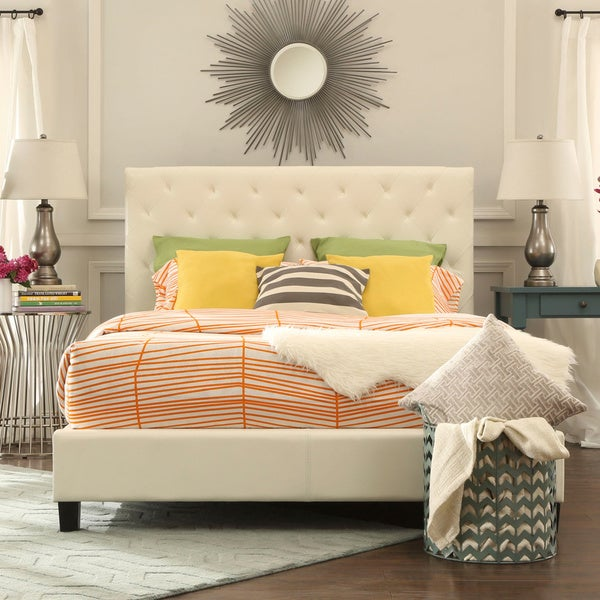 TRIBECCA HOME Sophie Beige Fabric Tufted King-sized Upholstered Platform Bed