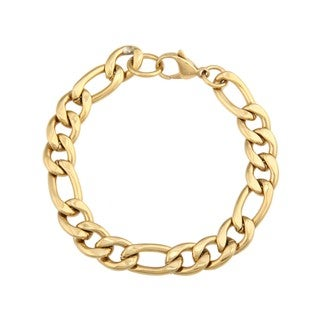 Stainless Steel and Gold IP Men's Figaro Bracelet