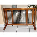 "Crown Pet Chestnut Brown Wood and Wire Gate 27"" - 48.75"" - Small Span"