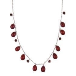 DaVonna Silver Red FW Pearl and Garnet Tin Cup 18-inch Necklace (7.5-8 mm)