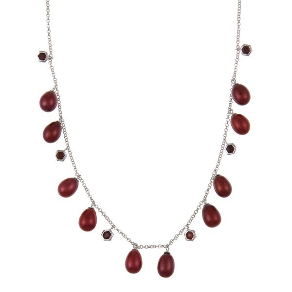 DaVonna Silver Red FW Pearl and Garnet Tin Cup 18-inch Necklace (7.5-8 mm) 8319455