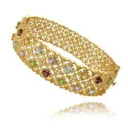 Dolce Giavonna 18k Gold over Silver Multi-gemstone Filigree Bracelet