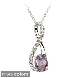 Glitzy Rocks Sterling Silver Amethyst and Diamond Accent Infinity Necklace