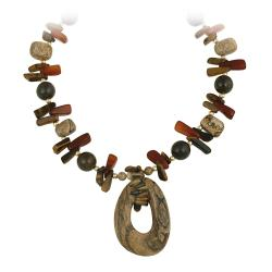 Glitzy Rocks Gold over Silver Multi-stone Fashion Necklace