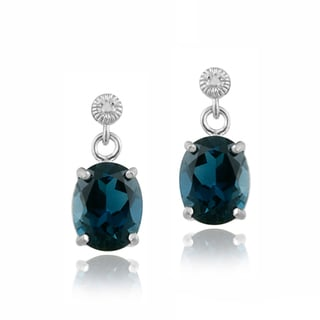 Glitzy Rocks Silver 6.4 CTW Blue Topaz and Diamond Accent Earrings
