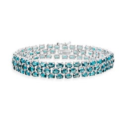 Glitzy Rocks Sterling Silver 28.5 CTW London Blue Topaz Three-Tier Bracelet