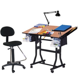 Martin Black Creation Station Drafting Table, Chair, Lamp and Tray Set