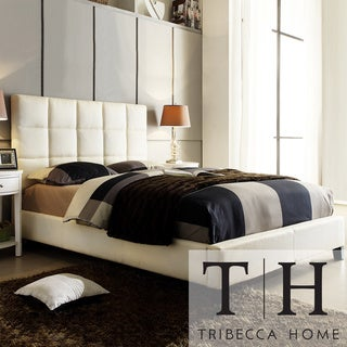 TRIBECCA HOME Sarajevo Beige Fabric Column King-size Bed
