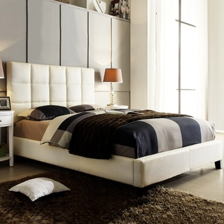 TRIBECCA HOME Sarajevo Beige Fabric Column Queen-sized Upholstered Bed