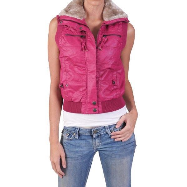 Ci Sono by Journee Juniors Wool Accent Faux Leather Vest