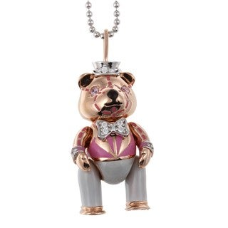 14k Pink Gold over Silver Cubic Zirconia Teddy Bear Necklace