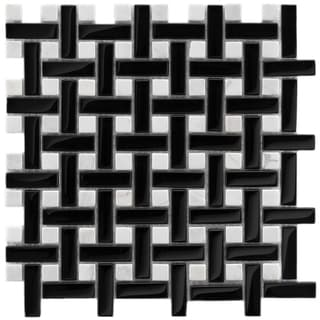 Somertile Reflections Basketweave Classic Glass/ Stone Mosaic Tiles (Pack of 10)