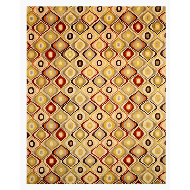 Hand-tufted Retro Chic Wool Rug