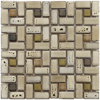 Somertile Tuscan Spiral Sienna Ceramic Mosaic Tiles (Pack of 10)