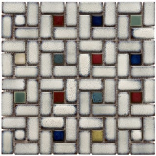 "Somertile Tuscan Spiral Cascade Ceramic Mosaic Tiles 12"" x 12"" Each (Pack of 10)"
