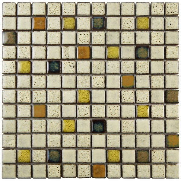 Somertile Tuscan Square 1-inch Sierra Ceramic Mosaic Tiles (Pack of 10)