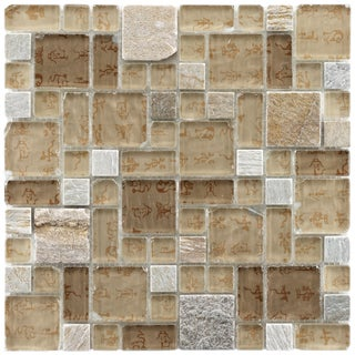 Somertile Reflections Versailles Heritage Glass/ Stone Mosaic Tiles (Pack of 10)