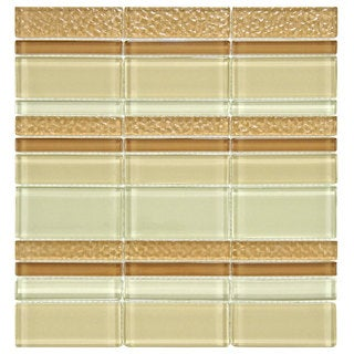 Somertile Reflections Meridian Stratus Glass/ Stone Mosaic Tiles (Pack of 10)