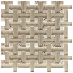 Somertile Reflections Basketweave Sand Glass/ Stone Mosaic Tiles (Pack of 10)