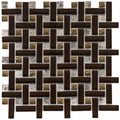Somertile Reflections Basketweave Mink Glass/ Stone Mosaic Tiles (Pack of 10)