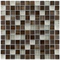 Somertile Reflections Square Truffle Glass/ Metal Mosaic Tiles (Pack of 10)