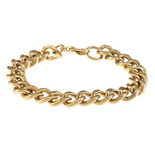 Stainless Steel and Gold IP Men's Curb Link Bracelet