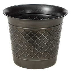 Gun Metal Check Metal 12-inch Planters (Set of 2)