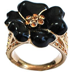 Michelle Monroe Crystal and Enamel Flower Ring Made with SWAROVSKI Elements