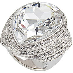 Michelle Monroe Goldtone Large White Crystal Ring Made with SWAROVSKI Elements
