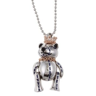 Sterling Silver Cubic Zirconia and Enamel Bear Necklace