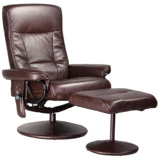 Relaxzen Brown Leather Massage Recliner (8-Motors)