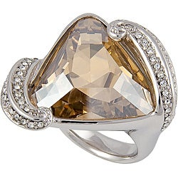 Michelle Monroe Silvertone Golden Crystal Ring Made with SWAROVSKI Elements