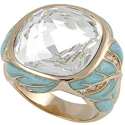 Michelle Monroe Goldtone Crystal Leaf Ring Made with SWAROVSKI Elements