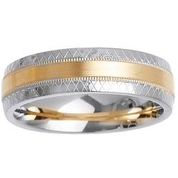 14k Two-tone Gold Men's Argyle Wedding Band
