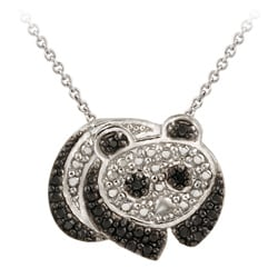 DB Designs Sterling Silver Black Diamond Accent Panda Bear Necklace