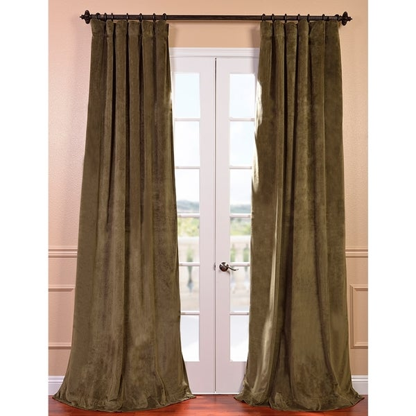 Signature Hunter Green Velvet 84-inch Blackout Curtain Panel